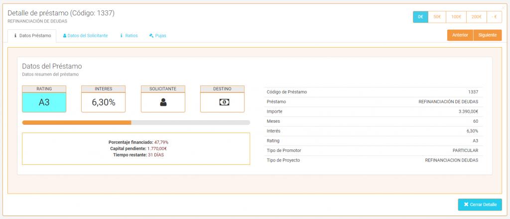 Detalle del préstamo - Crowdlending App