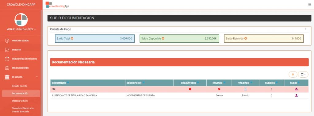 Documentación necesaria - Crowdlending App