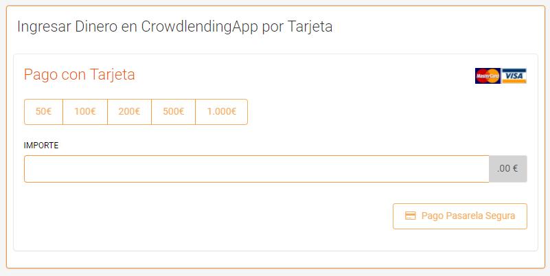 Ingresar dinero - Crowdlending App