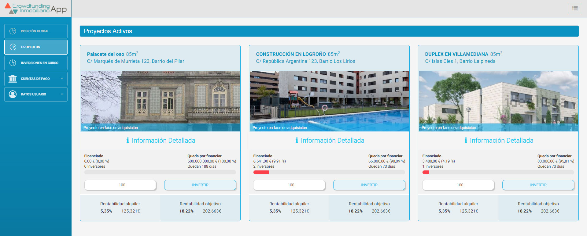 Frontend del software inmobiliario